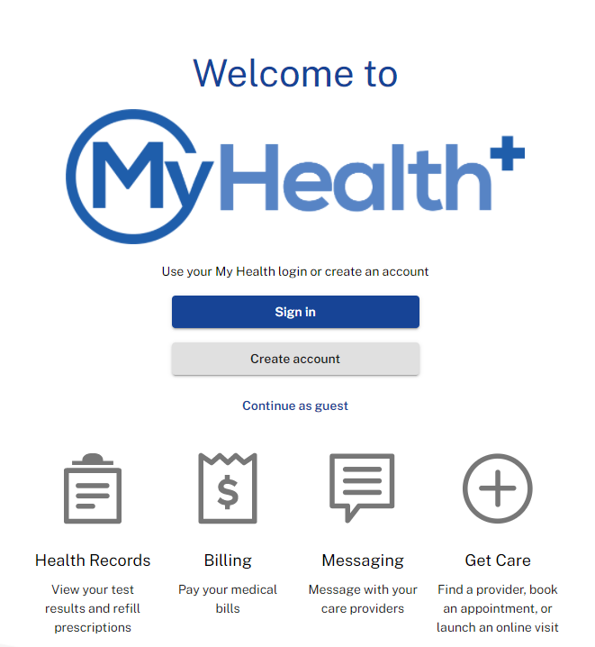 My Health+ landing page
